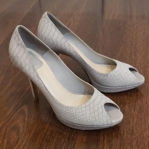 Christian Dior Grey snake peep toe heels Sz 40